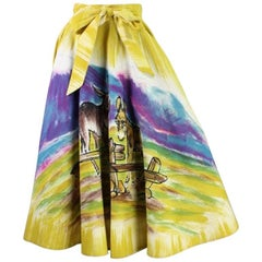 1950's Painted Mexican Circle Skirt with Burro Motif