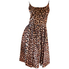Gorgeous 1950s Demi Couture Leopard Cheetah Print Silk Fit n' Flare 50s Dress