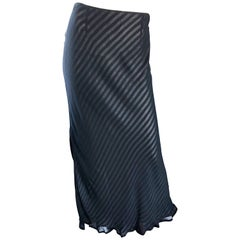 Moschino Cheap & Chic 1990s Size 12 Black and White Striped Vintage Maxi Skirt