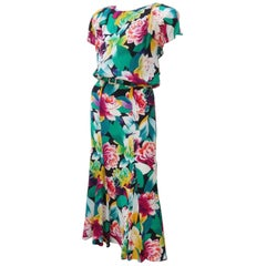 1980's Albert Nipon Tropical Floral Silk Dress