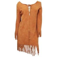 Elk Suede Fringe Hippie Dress, 1960s