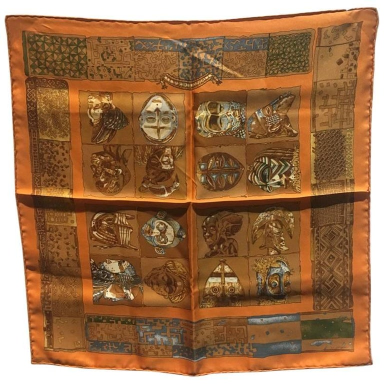Hermes Orange Personas Silk Pocket Square Scarf Handkerchief