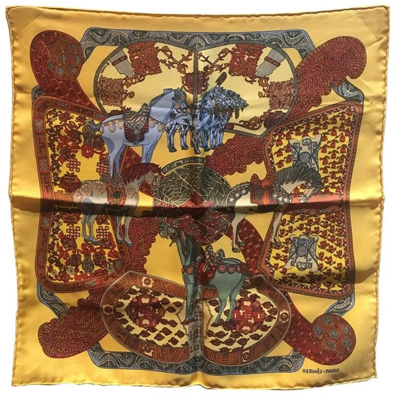 Hermes Art des Steppes Silk Pocket Square in Yellow