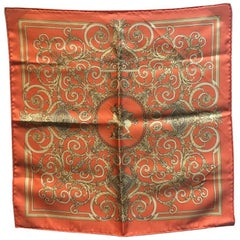 Hermes Vintage Coral and Gold Les Tuileries Silk Pocket Square Handkerchief