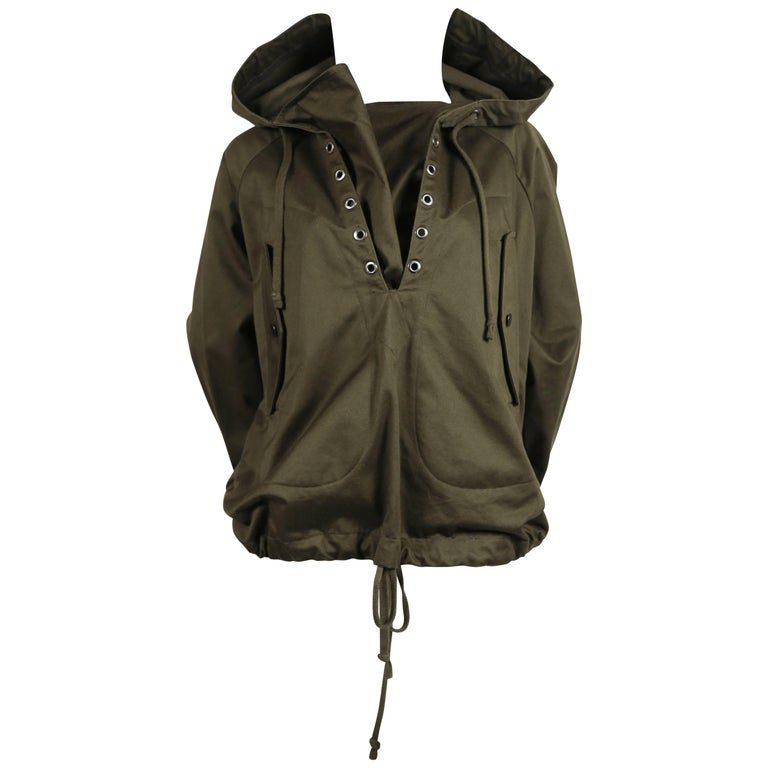 Celine By Phoebe Philo army green anorak jacket in polished cotton