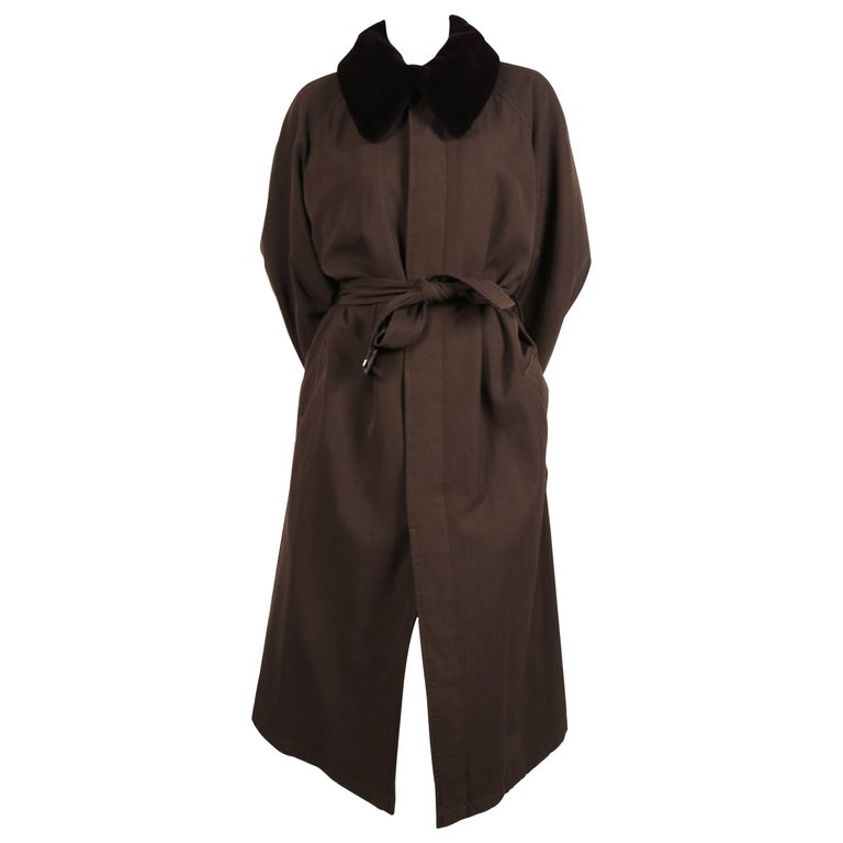 Yohji Yamamoto pour homme wool trench coat with removable mink collar, 1990s