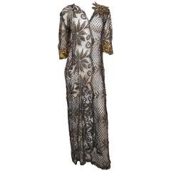 Silver Assuit Lace Gown, 1930s