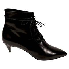 new SAINT LAURENT black leather 'Cat 50' lace up boots 41