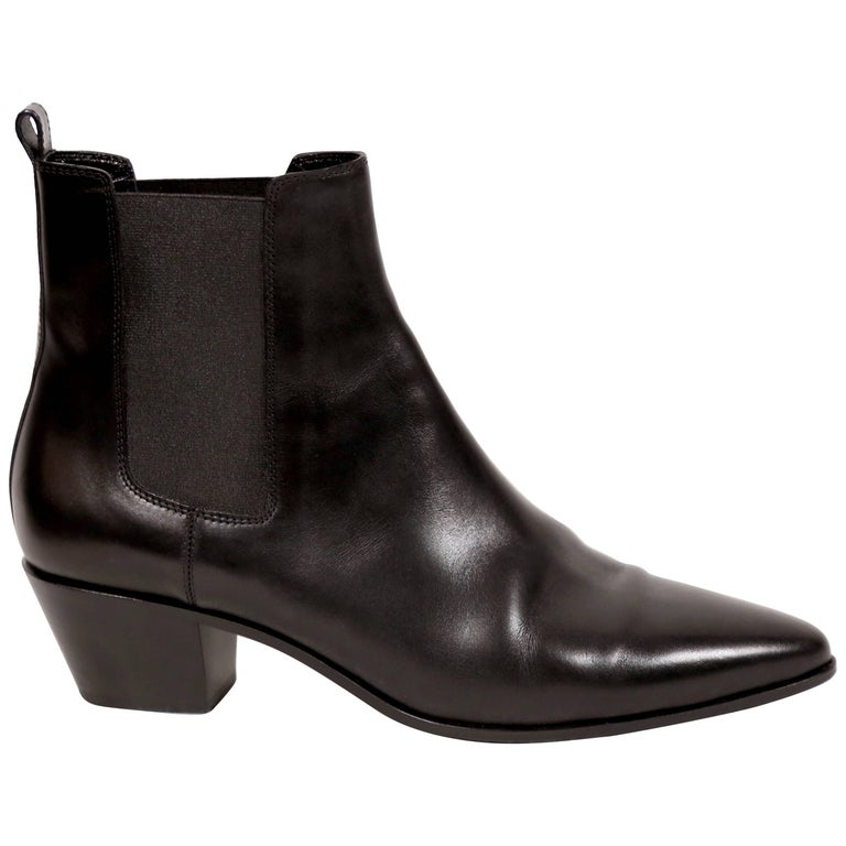 49ab0fb7a445b SAINT LAURENT black leather  Rock 40  Chelsea boots 41 at 1stdibs