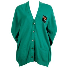 1980's HERMES green cashmere cardigan sweater with tags
