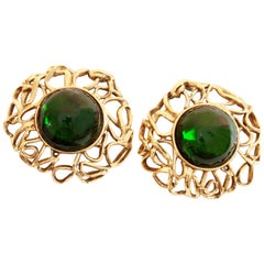 70s Yves Saint Laurent Large Earrings 2.5in Emerald Glass Cabochon Goossens YSL