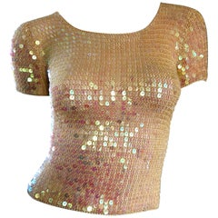 Fabulous 1990s Pink Champagne Fully Sequined Vintage Crochet Knit 90s Crop Top