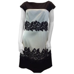 J. Mendel White and Black Lace Dress