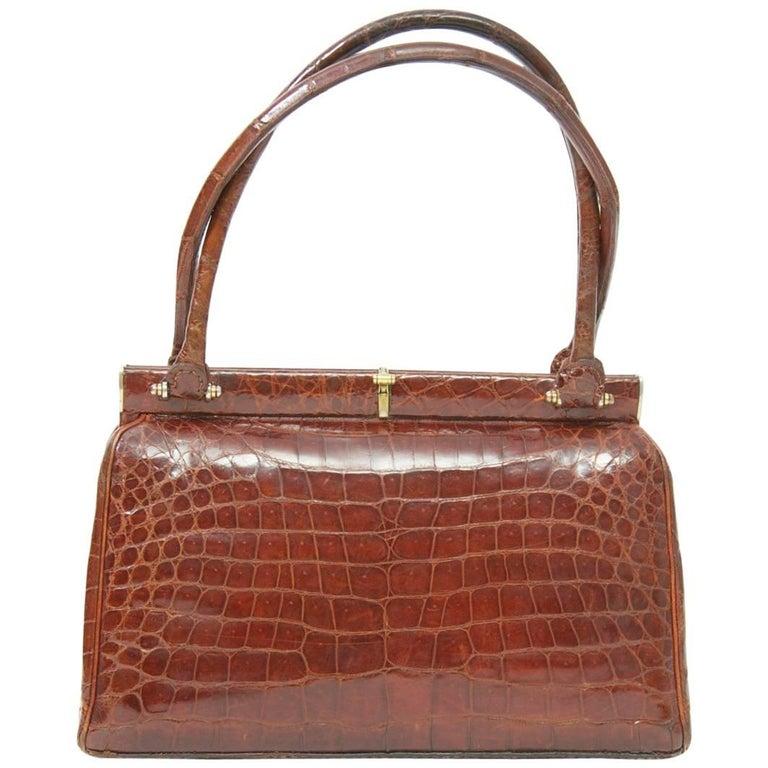 Cognac Crocodile Handbag, France