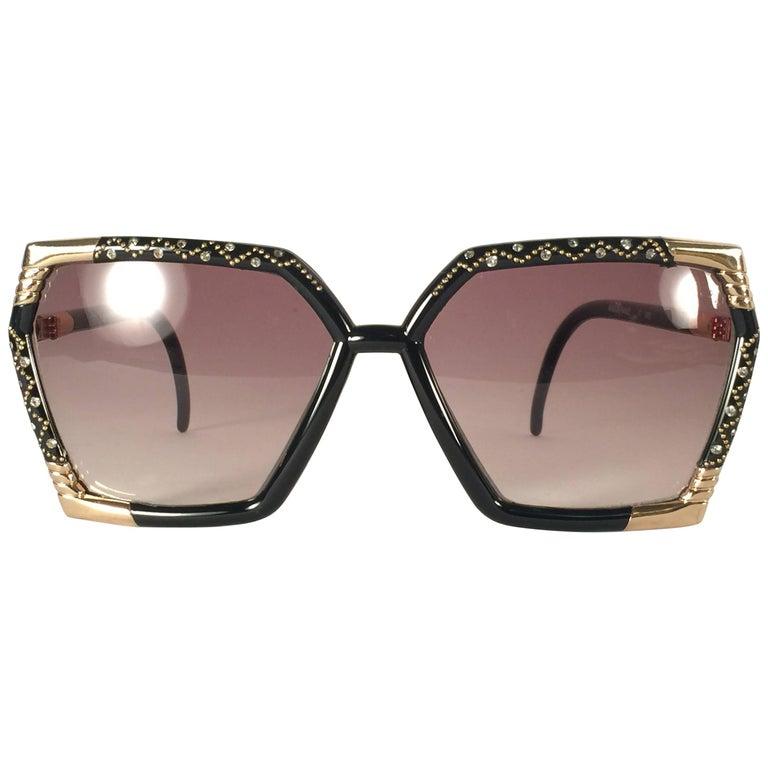 New Vintage Ted Lapidus Paris Black Strass 1970 Sunglasses France