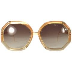 New Vintage Ted Lapidus Paris Light Amber Gold 1970 Sunglasses France