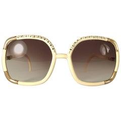 New Vintage Ted Lapidus Paris Ivory Strass Oversized 1970 Sunglasses France