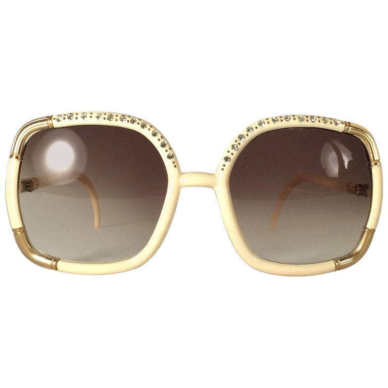 New Vintage Ted Lapidus Paris Ivory Strass Oversized 1970 Sunglasses France