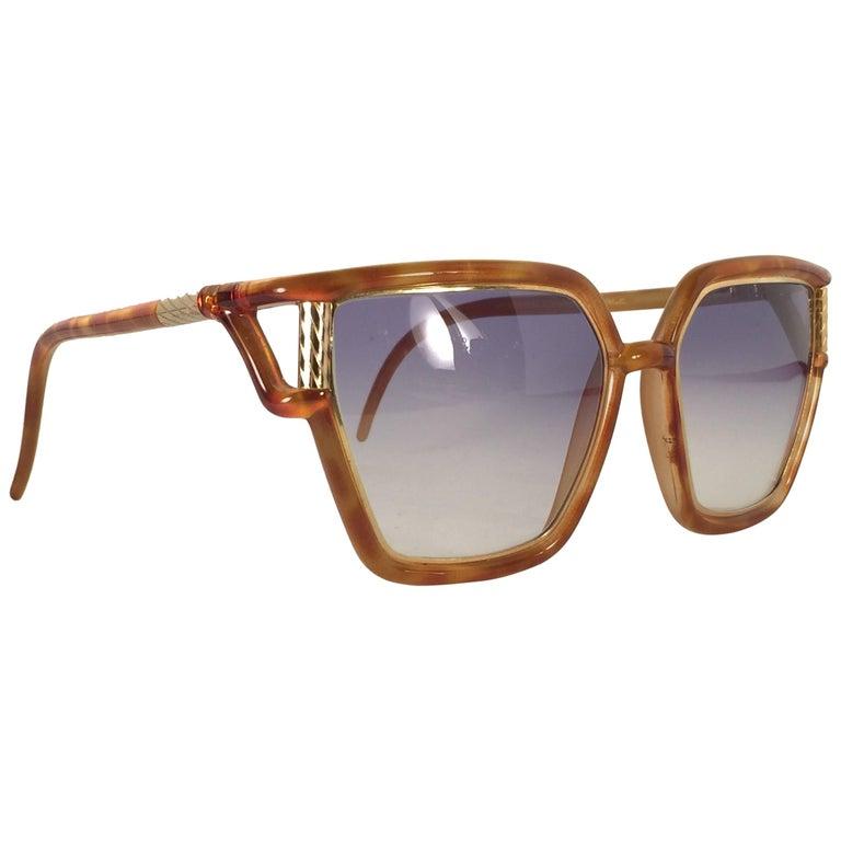 New Vintage Ted Lapidus Paris Tortoise Gold 1970 Sunglasses France