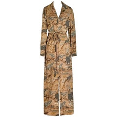 Sarmi Safari Animal Print Tan Maxi Shirt Dress, 1960s