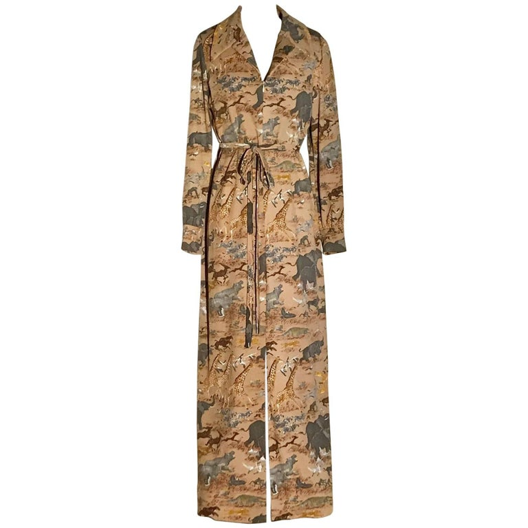 Sarmi Safari Animal Print Tan Maxi Shirt Dress, 1960s   For Sale