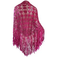 Fuchsia Hot Pink Rayon Hand Crochet Large Vintage Fringed Piano Shawl, 1970s