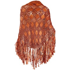 Terra Cotta / Tan Brown Hand Crochet Rayon Vintage Fringe Piano Shawl, 1970s