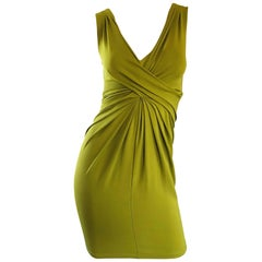 Michael Kors Collection Chartreuse Green Size 2 - 4 Silk Jersey, 2000s Dress
