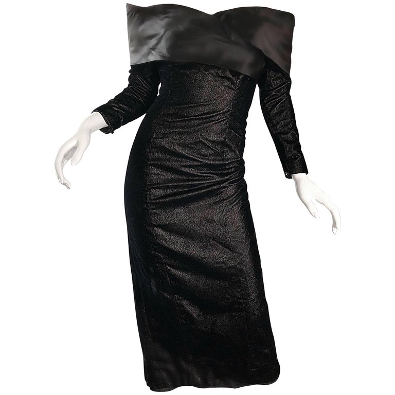 Gorgeous Black Velvet Off The Shoulder Vintage Wiggle Evening Dress