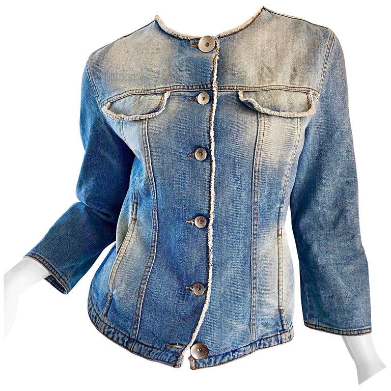 Krizia Vintage Size 10 Light Blue Jean Denim Glitter Moto Biker Jacket, 1990s