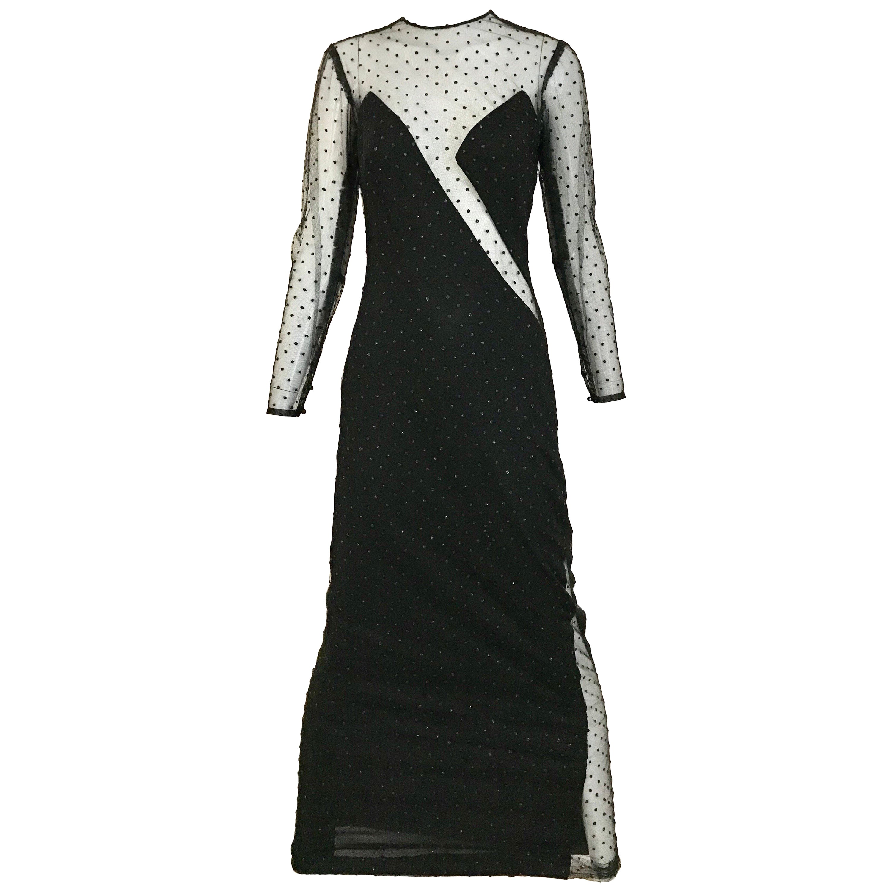 Vintage LORIS AZZARO Black Mesh Cut Out Sexy Evening Gown