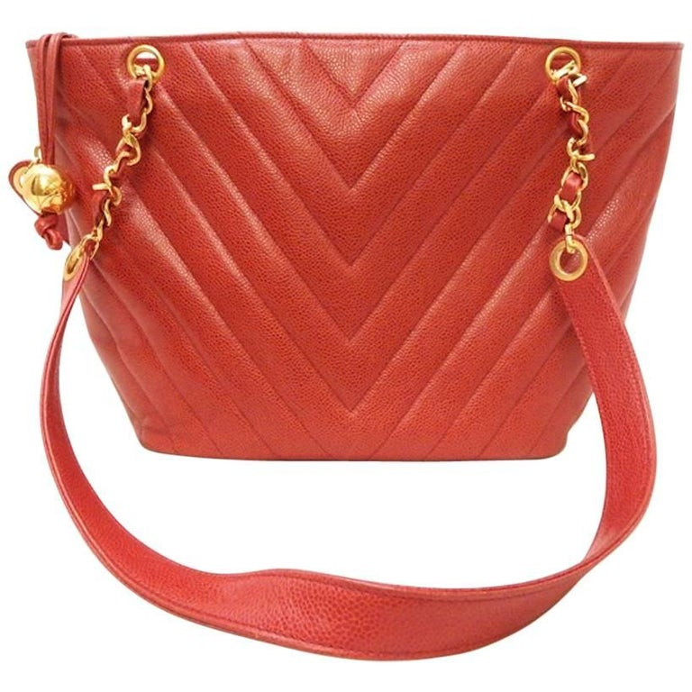 Chanel Red Caviar Chevron Shoulder Tote Bag