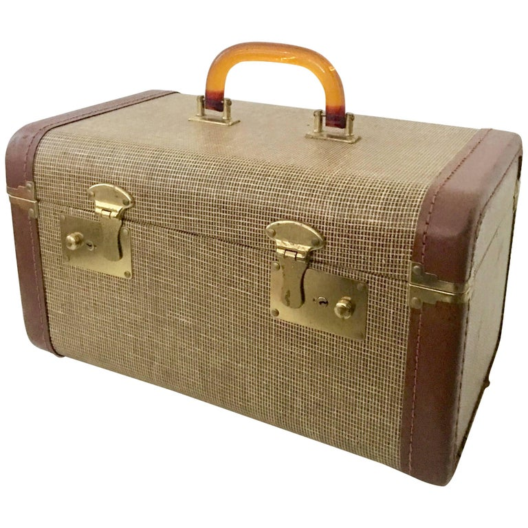 Leather Brass and Lucite Vintage Train Case