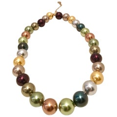 80's Kenneth Jay Lane Faux Pearl Choker Necklace