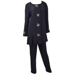 80s Chloe Black Evening Suit with Star Embroidery
