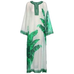 Gorgeous Dolce Gabbana Banana Leaf Print Silk Voile Kaftin Maxi Dress Gown