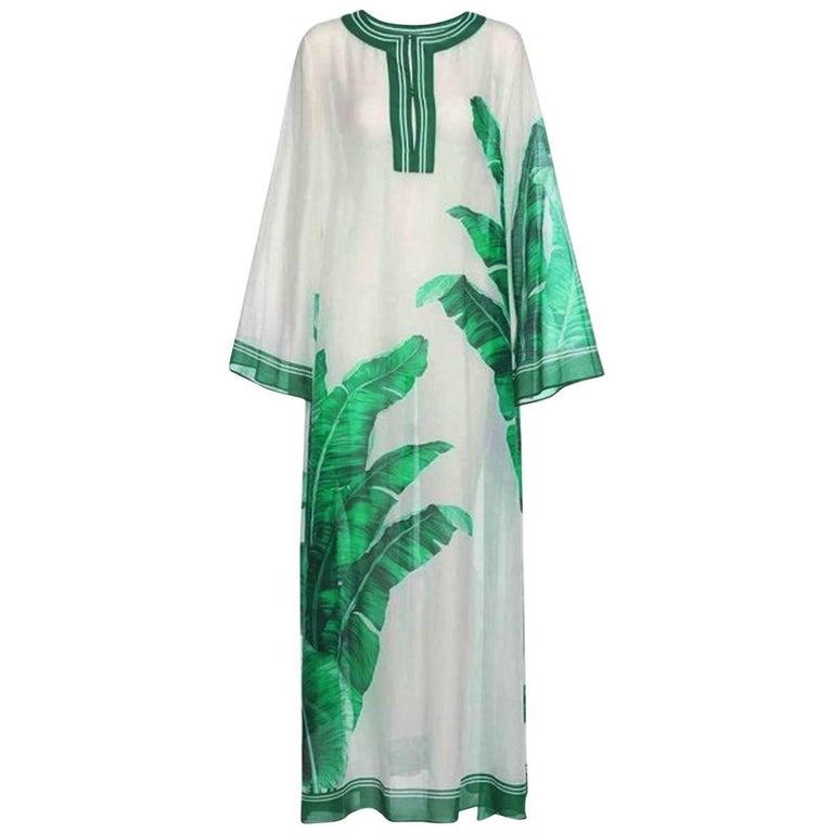 Gorgeous Dolce Gabbana Banana Leaf Print Silk Voile Kaftin Maxi Dress Gown