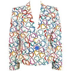 "Yves Saint Laurent White Multi Colours ""Hearts"" Blazer"