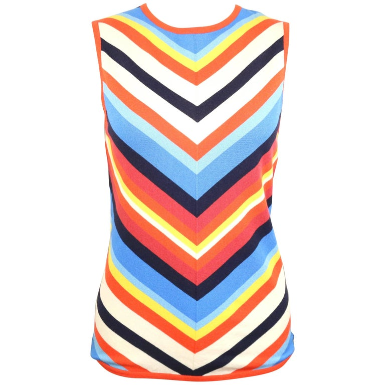 Celine Silk Colour Blocked Chevron Pattern Sleeveless Top  For Sale