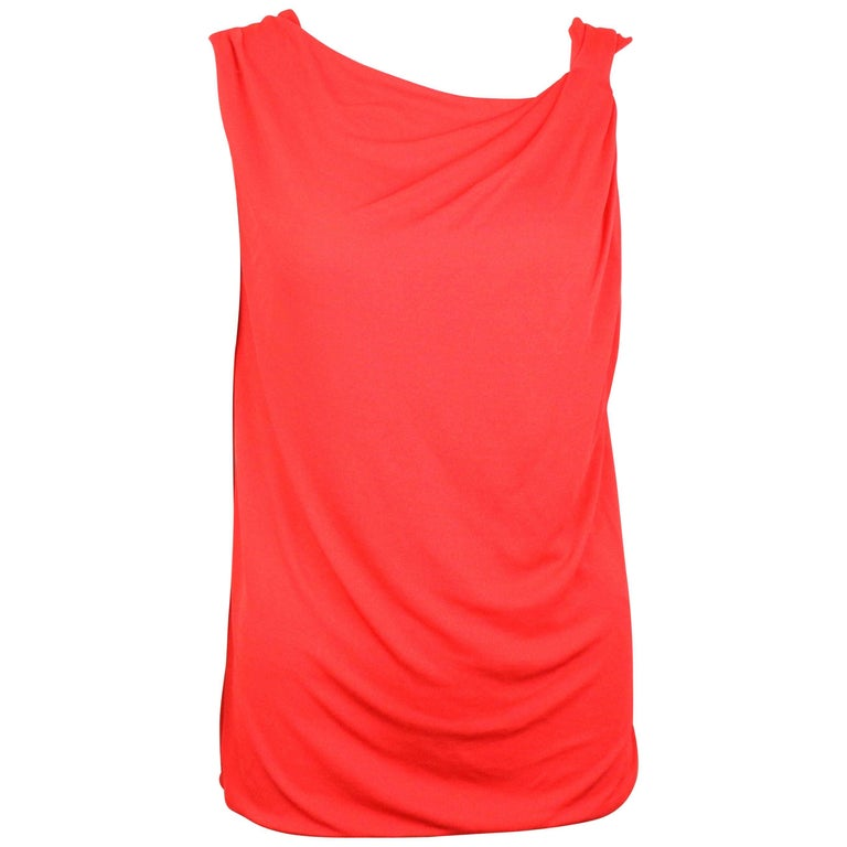 Gianni Versace Couture Red Asymmetric and Deep-V Cutting At Back Tank Top