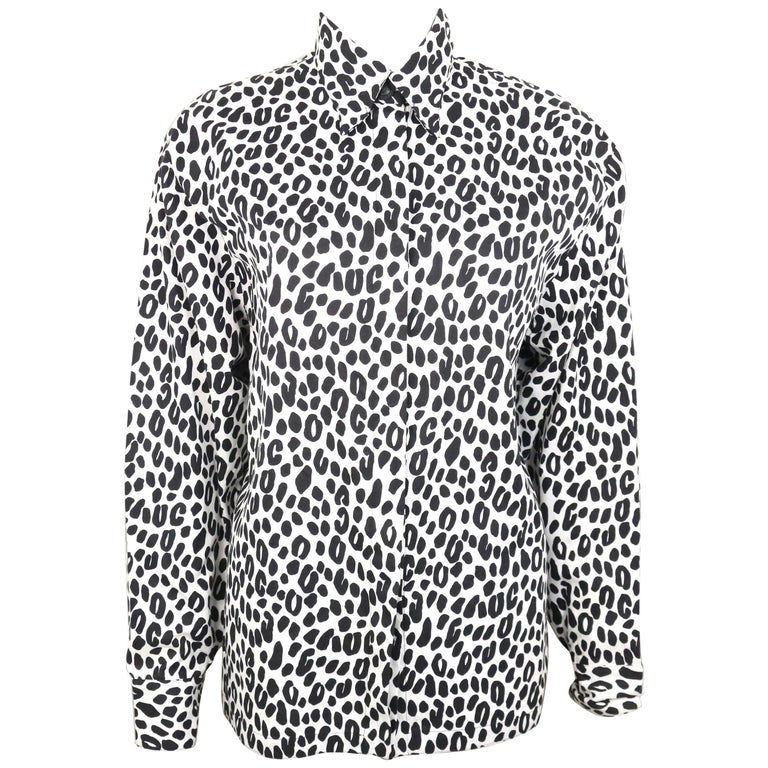 Gianni Versace Couture White and Black Dalmatian Print Cotton Shirt