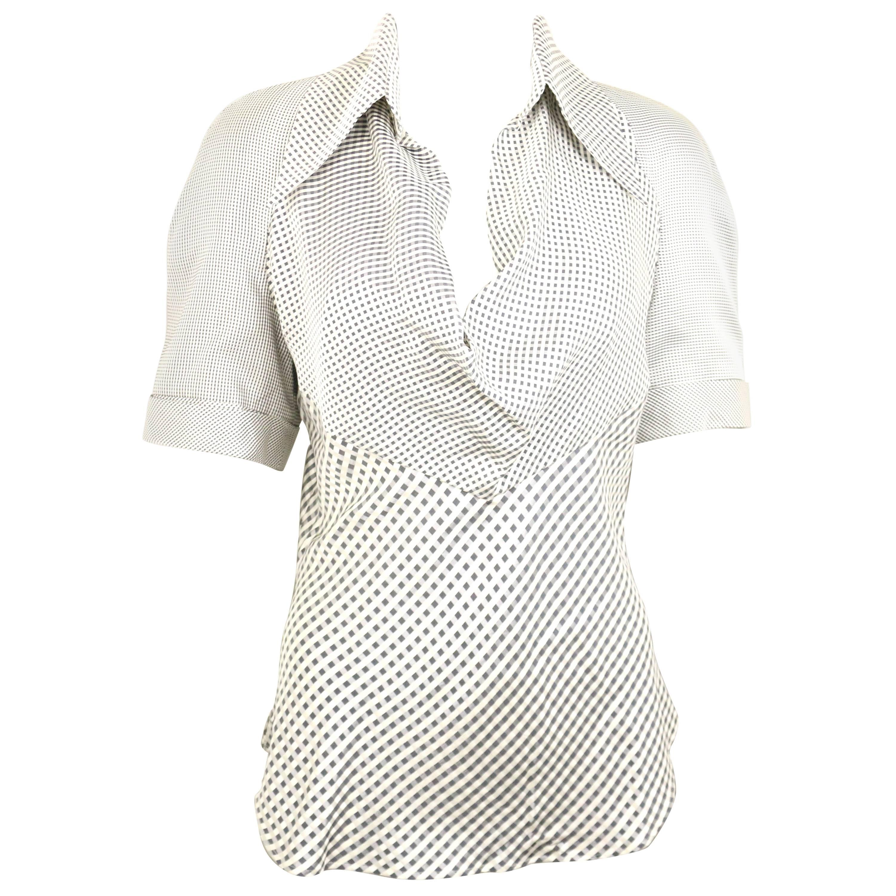 Givenchy Couture by Alexander McQueen Black and White Silk Check Collar Blouse