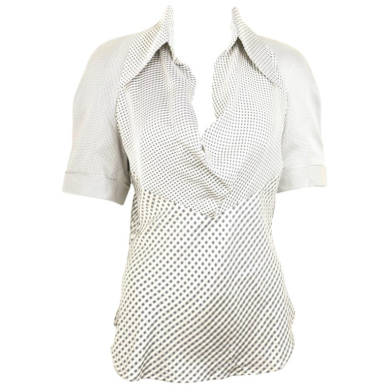 Givenchy Couture by Alexander McQueen Black and White Silk Check Collar Blouse For Sale