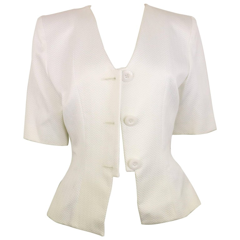 Yves Saint Laurent White Cotton Chevron Pattern Short Sleeves Blazer