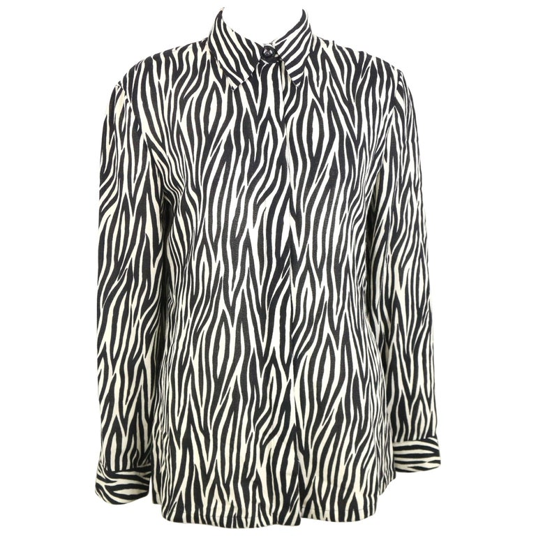 Gianni Versace Couture Black and White Wool Zebra Pattern Shirt  For Sale