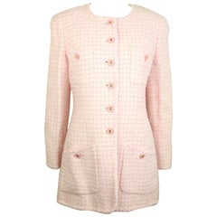 Chanel White and Pink Tweed Jacket