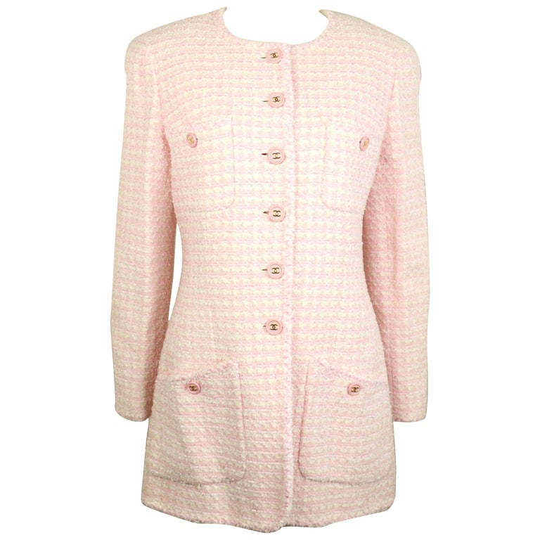 Chanel White and Pink Tweed Jacket For Sale