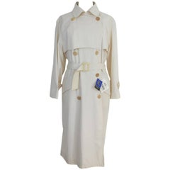 Yves Saint Laurent double breasted cotton beige trench woman's size 40 NWT