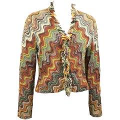 Missoni Wool Multi Colours Signature Wave Pattern Cardigan Jacket