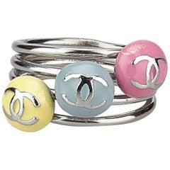 "Chanel Multi Colours ""CC"" Silver Ring"